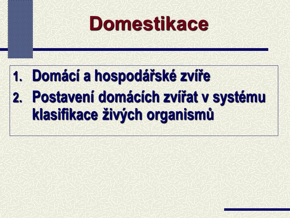 1. Domácí a hospodářské zvíře 2. Postavení domácích zvířat v systému klasifikace živých organismů Domestikace