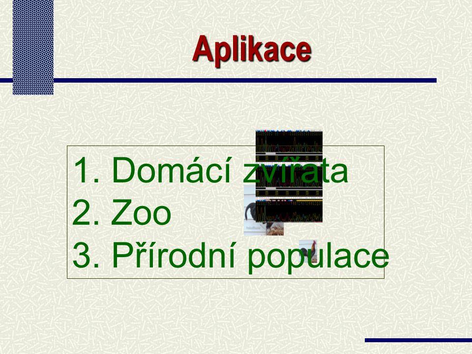 Aplikace 1. 1. Domácí zvířata 2. 2. Zoo 3. 3. Přírodní populace