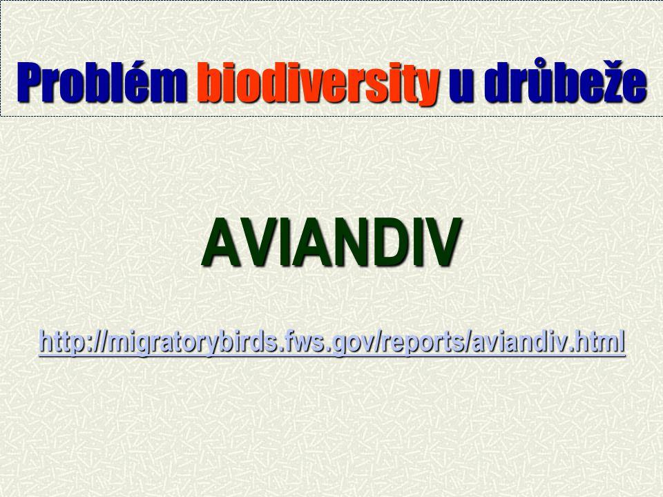 Problém biodiversity u drůbeže AVIANDIV http://migratorybirds.fws.gov/reports/aviandiv.html