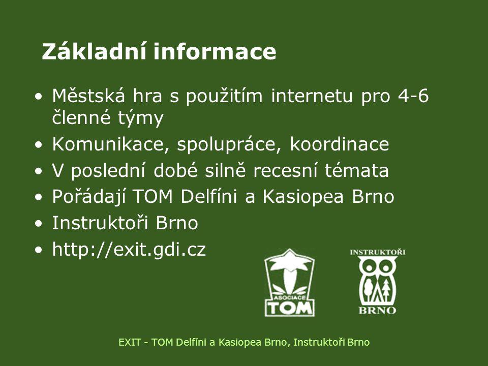 Statistika RočníkTémaTýmůVítěz 2002 Totalita46 (241)Casion 2003 Policejní akademie46 (263)Casion 2004 Časová turistika58 (329) Proudoví krtci 2005 Cesta z města57 (325)TheGenz 2006 UFONI a MIB68 (389)F.D.T.O 2007 SEX IT!64 (375)Chlýftým EXIT - TOM Delfíni a Kasiopea Brno, Instruktoři Brno