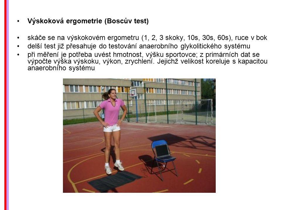 Výskoková ergometrie (Boscův test) skáče se na výskokovém ergometru (1, 2, 3 skoky, 10s, 30s, 60s), ruce v bok delší test již přesahuje do testování a
