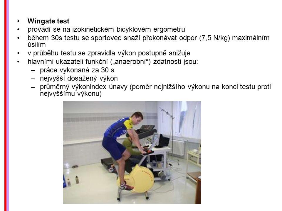 Wingate test provádí se na izokinetickém bicyklovém ergometru během 30s testu se sportovec snaží překonávat odpor (7,5 N/kg) maximálním úsilím v průbě