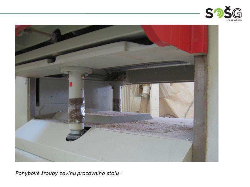 Vícekotoučová rozřezávací pila PWR 201 TOS Svitavy - detail Pohybové šrouby zdvihu pracovního stolu 3