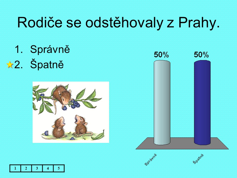 Rodiče se odstěhovaly z Prahy. 12345 1.Správně 2.Špatně
