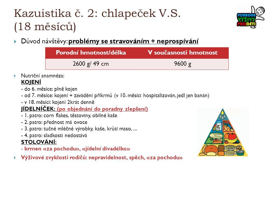Kazuistika č. 2: chlapeček V.S. (18 měsíců)  Důvod návštěvy: problémy se stravováním + neprospívání  Nutriční anamnéza: KOJENÍ - do 6. měsíce: plně