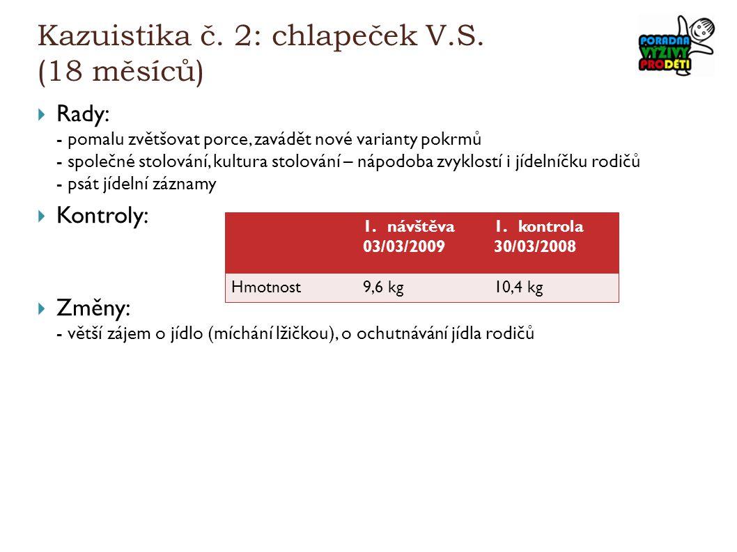 Kazuistika č. 2: chlapeček V.S. (18 měsíců)  Rady: - pomalu zvětšovat porce, zavádět nové varianty pokrmů - společné stolování, kultura stolování – n