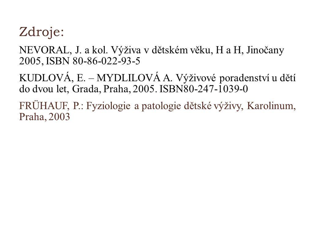 Zdroje: NEVORAL, J. a kol. Výživa v dětském věku, H a H, Jinočany 2005, ISBN 80-86-022-93-5 KUDLOVÁ, E. – MYDLILOVÁ A. Výživové poradenství u dětí do