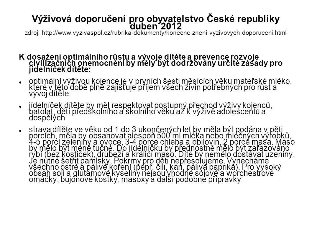 Výživová doporučení pro obyvatelstvo České republiky duben 2012 zdroj: http://www.vyzivaspol.cz/rubrika-dokumenty/konecne-zneni-vyzivovych-doporuceni.