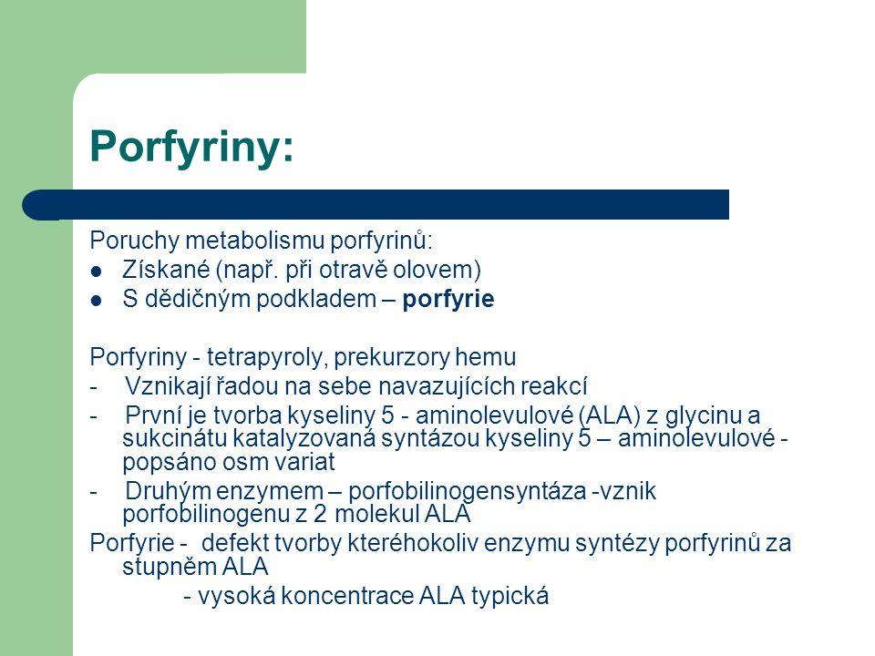 Porfyriny: Poruchy metabolismu porfyrinů: Získané (např. při otravě olovem) S dědičným podkladem – porfyrie Porfyriny - tetrapyroly, prekurzory hemu -