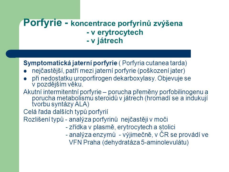 Porfyrie - koncentrace porfyrinů zvýšena - v erytrocytech - v játrech Symptomatická jaterní porfyrie ( Porfyria cutanea tarda) nejčastější, patří mezi