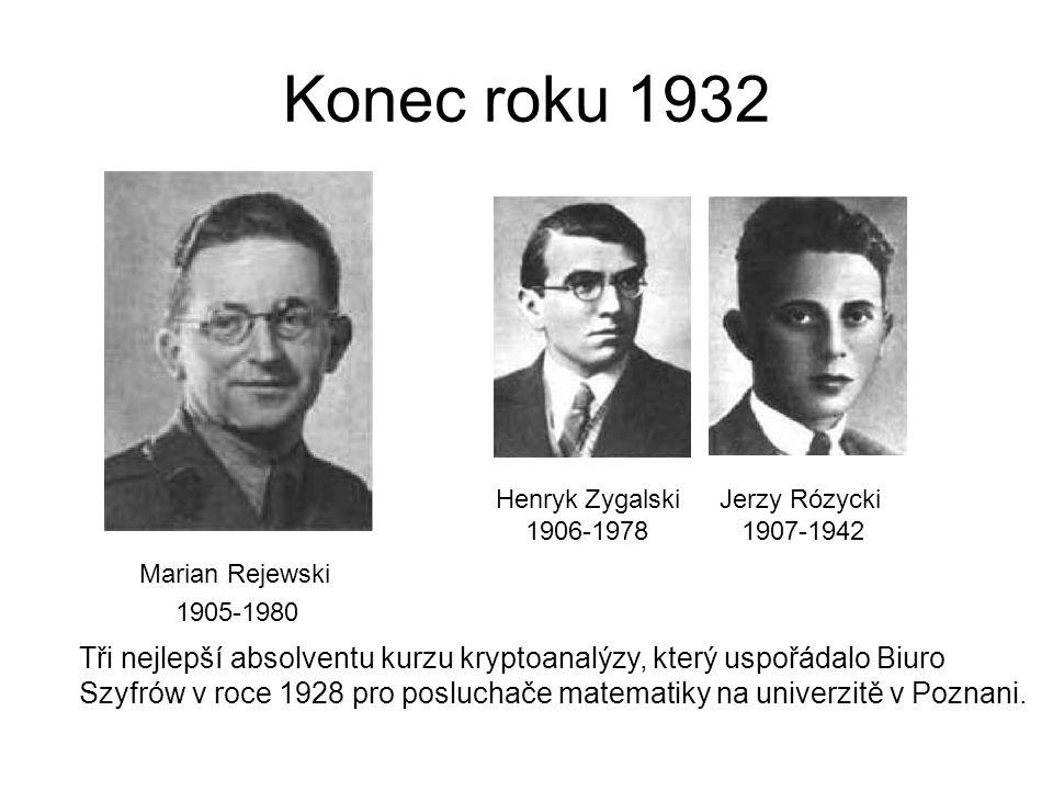 Konec roku 1932 Marian Rejewski 1905-1980 Henryk Zygalski 1906-1978 Jerzy Rózycki 1907-1942 Tři nejlepší absolventu kurzu kryptoanalýzy, který uspořádalo Biuro Szyfrów v roce 1928 pro posluchače matematiky na univerzitě v Poznani.