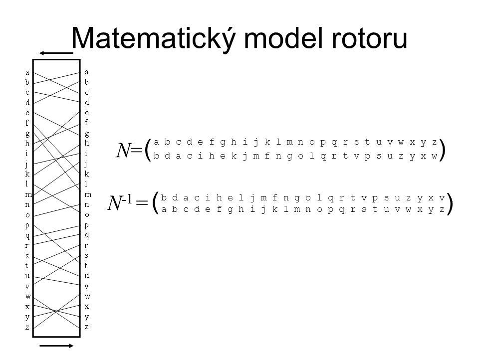 Matematický model rotoru a b c d e f g h i j k l m n o p q r s t u v w x y z b d a c i h e k j m f n g o l q r t v p s u z y x w () N=N= b d a c i h e l j m f n g o l q r t v p s u z y x v a b c d e f g h i j k l m n o p q r s t u v w x y z ( ) N -1 =