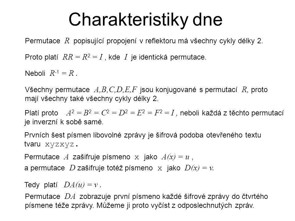 Charakteristiky dne Permutace R popisující propojení v reflektoru má všechny cykly délky 2.