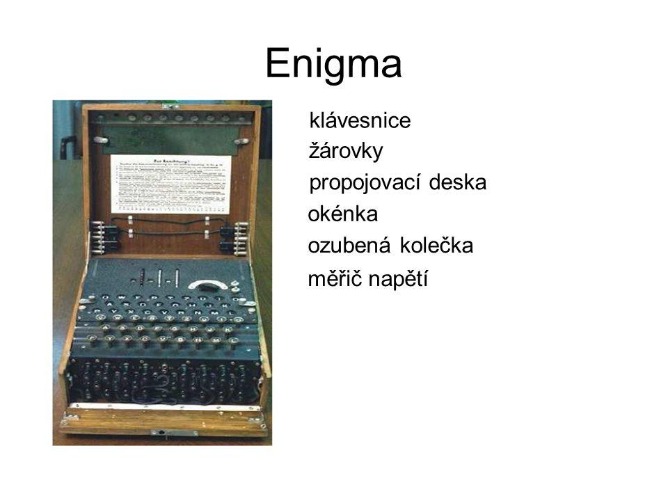 Enigma klávesnice žárovky propojovací deska okénka ozubená kolečka měřič napětí