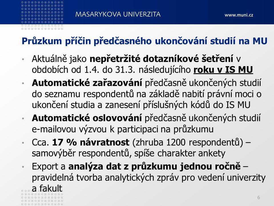 Průzkum příčin předčasného ukončování studií na MU Aktuálně jako nepřetržité dotazníkové šetření v obdobích od 1.4.