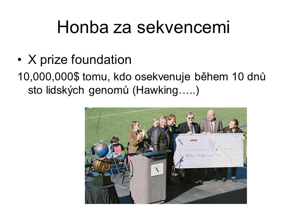 Honba za sekvencemi X prize foundation 10,000,000$ tomu, kdo osekvenuje během 10 dnů sto lidských genomů (Hawking…..)