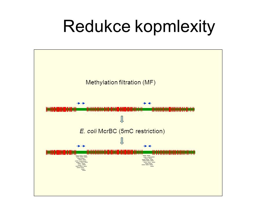 Redukce kopmlexity Methylation filtration (MF) E. coli McrBC (5mC restriction)