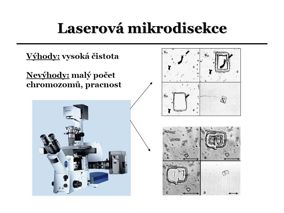 Laserová mikrodisekce Výhody: vysoká čistota Nevýhody: malý počet chromozomů, pracnost