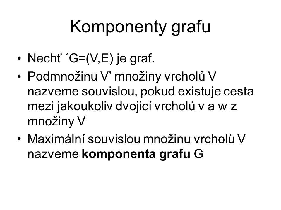 Komponenty grafu Nechť ´G=(V,E) je graf. Podmnožinu V' množiny vrcholů V nazveme souvislou, pokud existuje cesta mezi jakoukoliv dvojicí vrcholů v a w