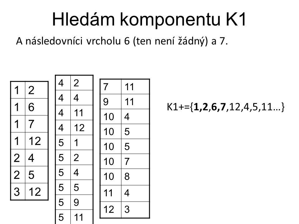 Hledám komponentu K1 A následovníci vrcholu 6 (ten není žádný) a 7. 12 16 17 112 24 25 3 42 44 411 412 51 52 54 55 59 511 7 9 104 5 5 7 8 114 123 K1+=