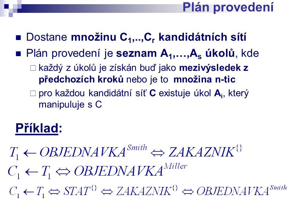 Dostane množinu C 1,..,C r kandidátních sítí Plán provedení je seznam A 1,…,A s úkolů, kde  každý z úkolů je získán buď jako mezivýsledek z předchozích kroků nebo je to množina n-tic  pro každou kandidátní síť C existuje úkol A i, který manipuluje s C Plán provedení Příklad: