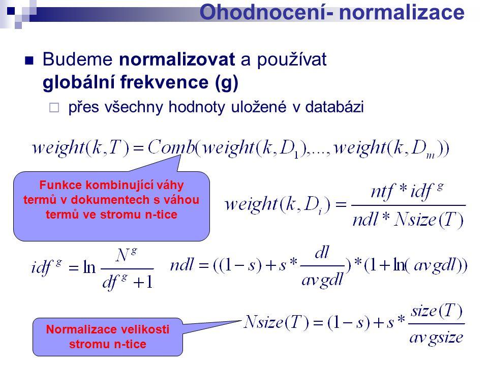 Budeme normalizovat a používat globální frekvence (g)  přes všechny hodnoty uložené v databázi Ohodnocení- normalizace Normalizace velikosti stromu n-tice Funkce kombinující váhy termů v dokumentech s váhou termů ve stromu n-tice
