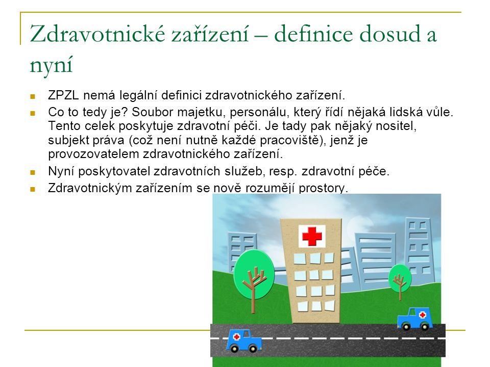Zdravotnické zařízení – definice dosud a nyní ZPZL nemá legální definici zdravotnického zařízení.