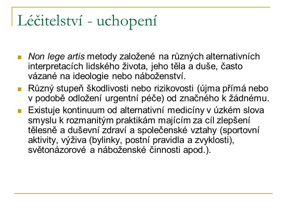 Léčitelství - uchopení Non lege artis metody založené na různých alternativních interpretacích lidského života, jeho těla a duše, často vázané na ideologie nebo náboženství.