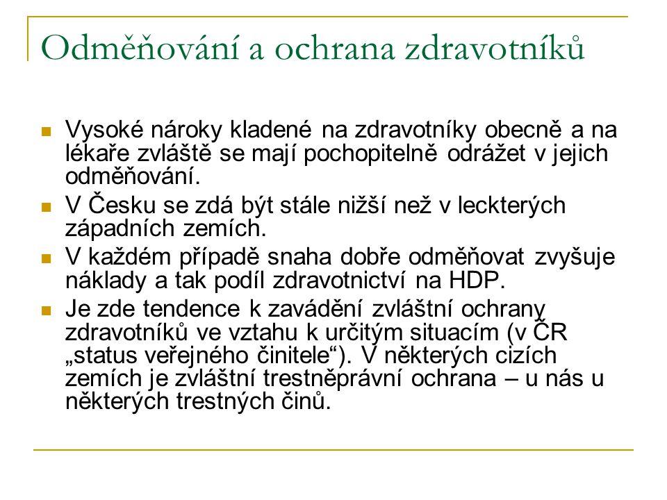 Organizace zdravotnictví v Česku, v Evropě a jinde V jednotlivých zemích je různý poměr jednotlivých sektorů poskytovatelů zdravotní péče Jednotlivé státy mají různý podíl neřízeného vývoje (trh) a plánování zdravotnických služeb Vedle reglementace v úzkém slova smyslu se používá veřejné financování jako nástroj rozvoje a udržování odpovídající sítě zdravotnických zařízení (o tom přednáška ČEZP 7).