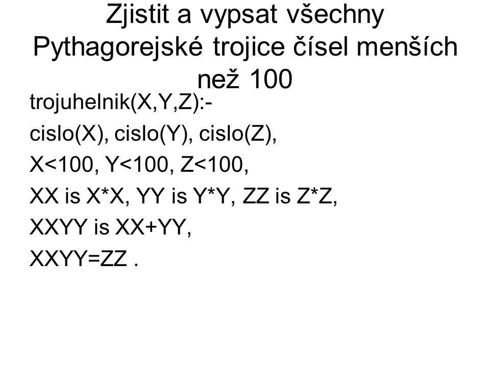 Zjistit a vypsat všechny Pythagorejské trojice čísel menších než 100 trojuhelnik(X,Y,Z):- cislo(X), cislo(Y), cislo(Z), X<100, Y<100, Z<100, XX is X*X