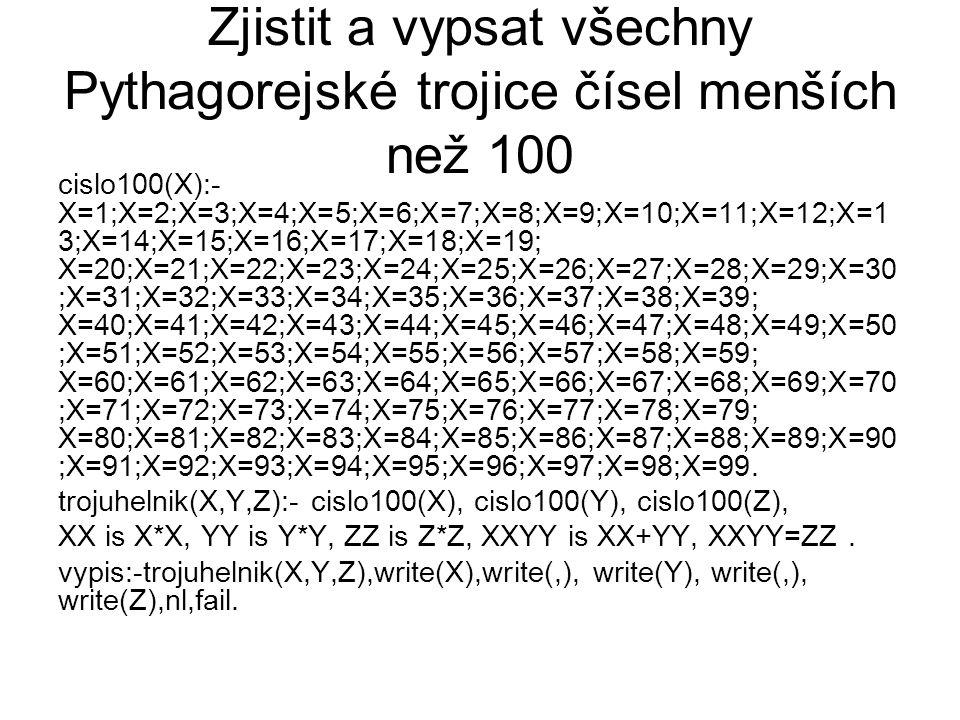 Zjistit a vypsat všechny Pythagorejské trojice čísel menších než 100 cislo100(X):- X=1;X=2;X=3;X=4;X=5;X=6;X=7;X=8;X=9;X=10;X=11;X=12;X=1 3;X=14;X=15;