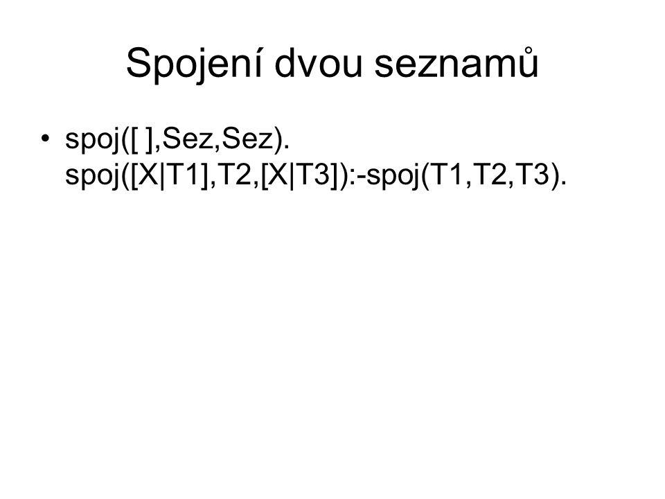 Spojení dvou seznamů spoj([ ],Sez,Sez). spoj([X|T1],T2,[X|T3]):-spoj(T1,T2,T3).