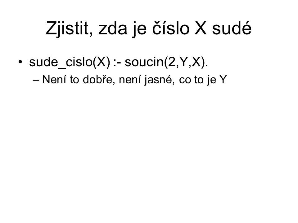 Zjistit, zda je číslo X sudé sude_cislo(X) :- soucin(2,Y,X). –Není to dobře, není jasné, co to je Y