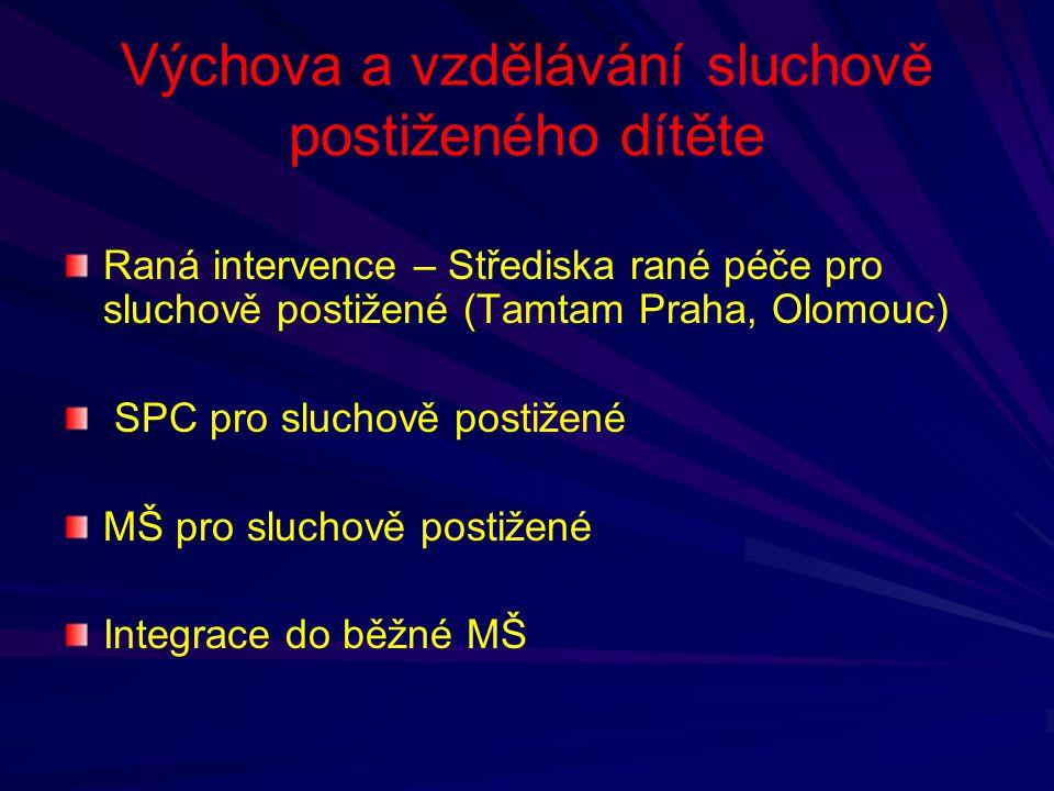 Výchova a vzdělávání sluchově postiženého dítěte Raná intervence – Střediska rané péče pro sluchově postižené (Tamtam Praha, Olomouc) SPC pro sluchově