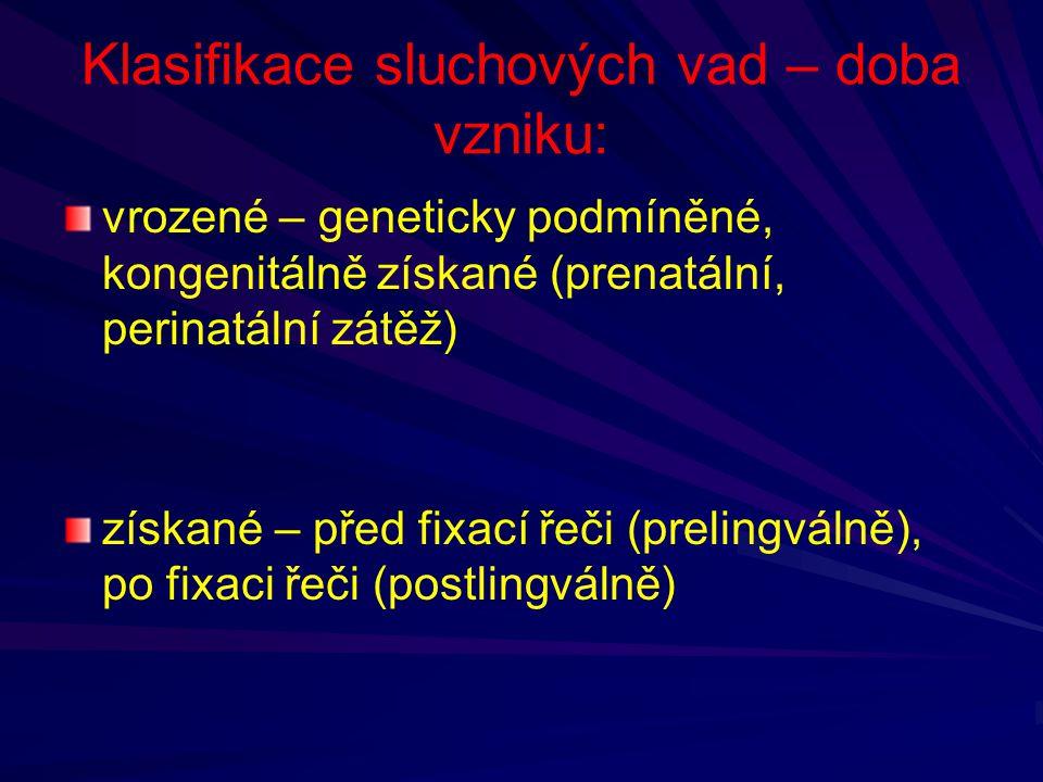 Klasifikace sluchových vad – doba vzniku: vrozené – geneticky podmíněné, kongenitálně získané (prenatální, perinatální zátěž) získané – před fixací ře