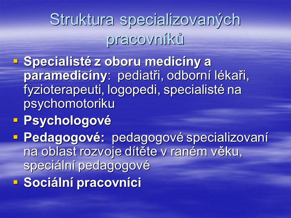 Struktura specializovaných pracovníků  Specialisté z oboru medicíny a paramedicíny: pediatři, odborní lékaři, fyzioterapeuti, logopedi, specialisté n