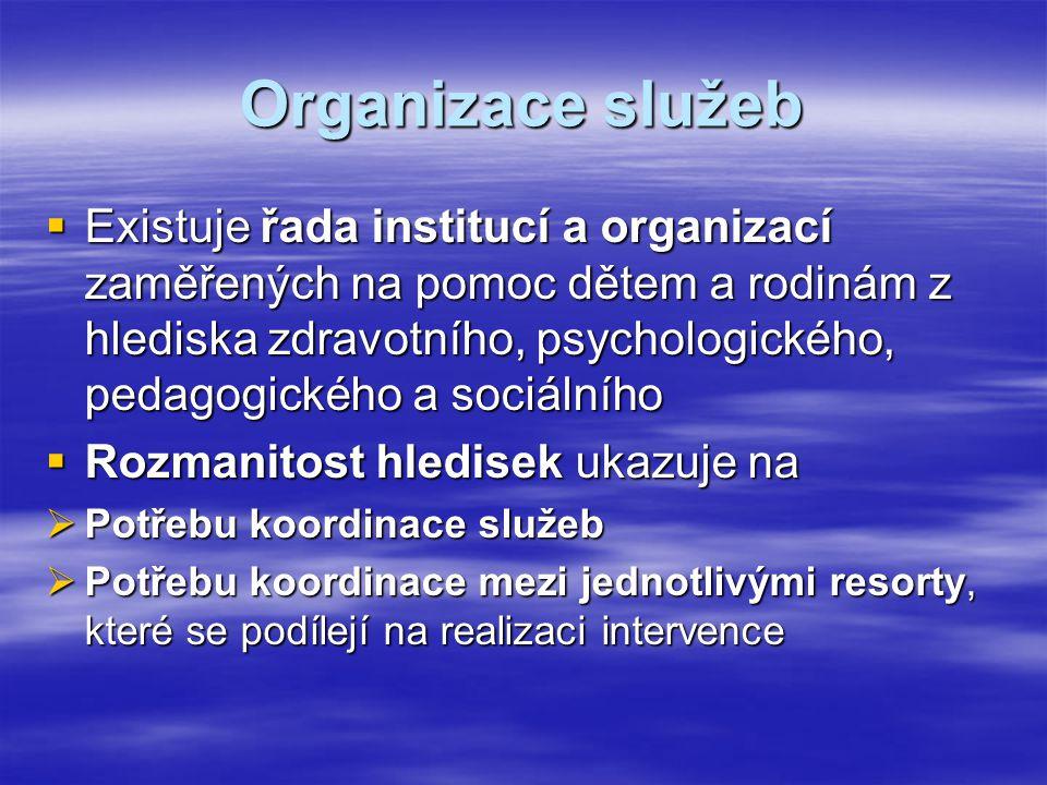 Organizace služeb  Existuje řada institucí a organizací zaměřených na pomoc dětem a rodinám z hlediska zdravotního, psychologického, pedagogického a sociálního  Rozmanitost hledisek ukazuje na  Potřebu koordinace služeb  Potřebu koordinace mezi jednotlivými resorty, které se podílejí na realizaci intervence