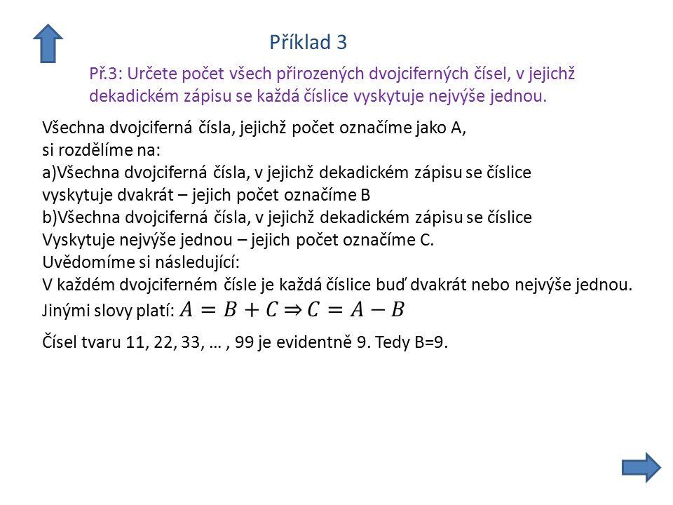 Příklad 3 Př.3: Určete počet všech přirozených dvojciferných čísel, v jejichž dekadickém zápisu se každá číslice vyskytuje nejvýše jednou.