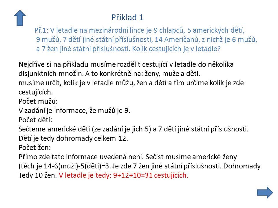 Příklad 1 Př.1: V letadle na mezinárodní lince je 9 chlapců, 5 amerických dětí, 9 mužů, 7 dětí jiné státní příslušnosti, 14 Američanů, z nichž je 6 mu