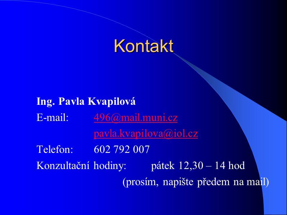 Kontakt Ing. Pavla Kvapilová E-mail: 496@mail.muni.cz496@mail.muni.cz pavla.kvapilova@iol.cz Telefon:602 792 007 Konzultační hodiny:pátek 12,30 – 14 h