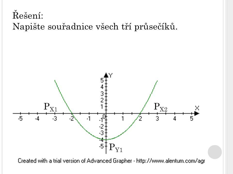 Řešení: Napište souřadnice všech tří průsečíků. P X1 P Y1 P X2