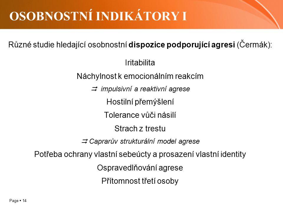 Page  14 OSOBNOSTNÍ INDIKÁTORY I Různé studie hledající osobnostní dispozice podporující agresi (Čermák):..