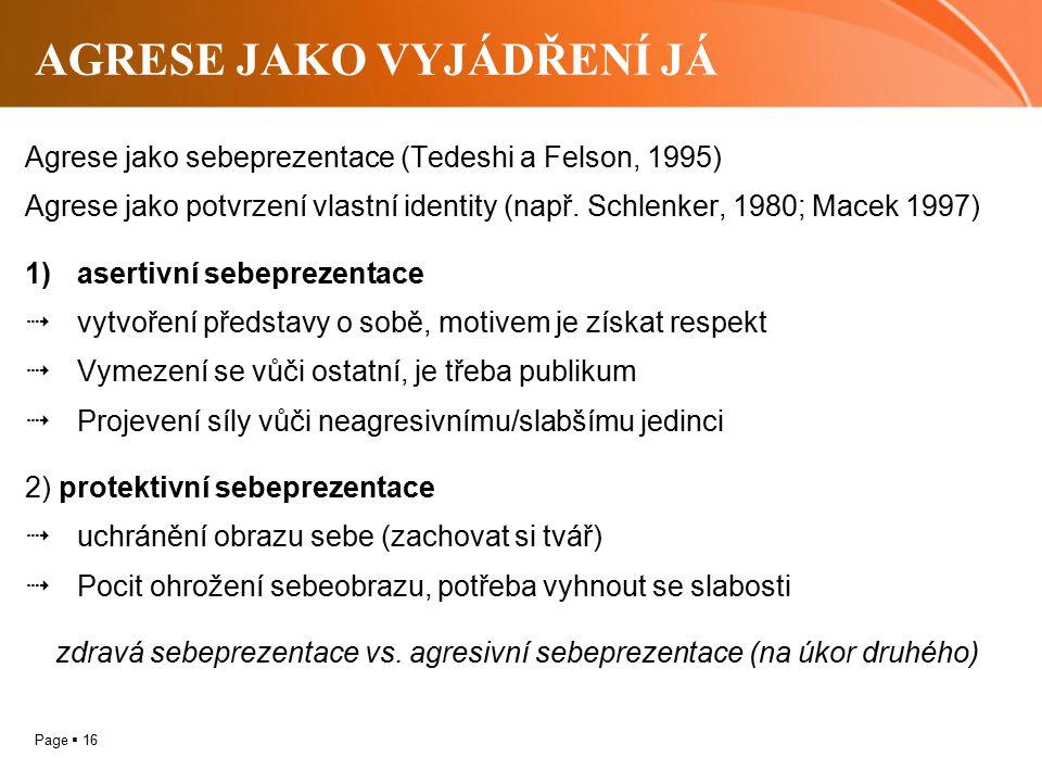 Page  16 AGRESE JAKO VYJÁDŘENÍ JÁ Agrese jako sebeprezentace (Tedeshi a Felson, 1995) Agrese jako potvrzení vlastní identity (např. Schlenker, 1980;