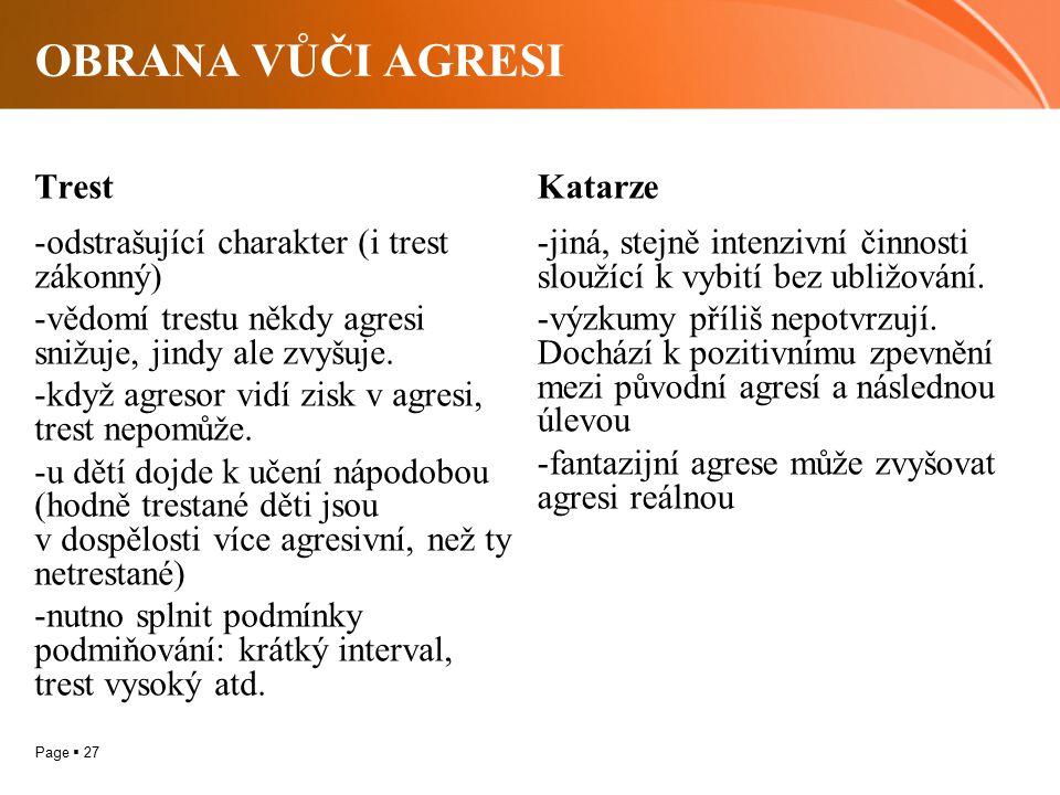 Page  27 OBRANA VŮČI AGRESI Trest -odstrašující charakter (i trest zákonný) -vědomí trestu někdy agresi snižuje, jindy ale zvyšuje. -když agresor vid
