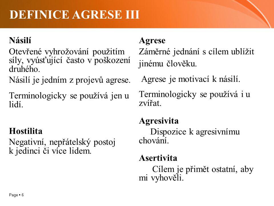 Page  6 DEFINICE AGRESE III Násilí Otevřené vyhrožování použitím síly, vyúsťující často v poškození druhého. Násilí je jedním z projevů agrese. Termi