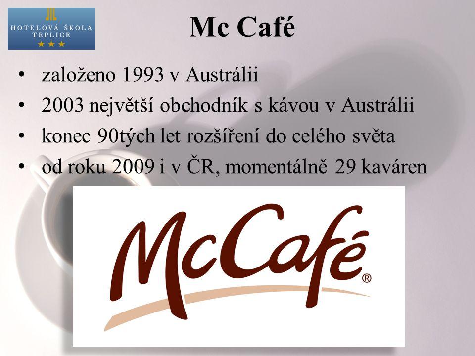 Mc Café založeno 1993 v Austrálii 2003 největší obchodník s kávou v Austrálii konec 90tých let rozšíření do celého světa od roku 2009 i v ČR, momentál