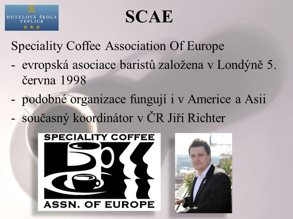 SCAE Speciality Coffee Association Of Europe -evropská asociace baristů založena v Londýně 5. června 1998 -podobné organizace fungují i v Americe a As