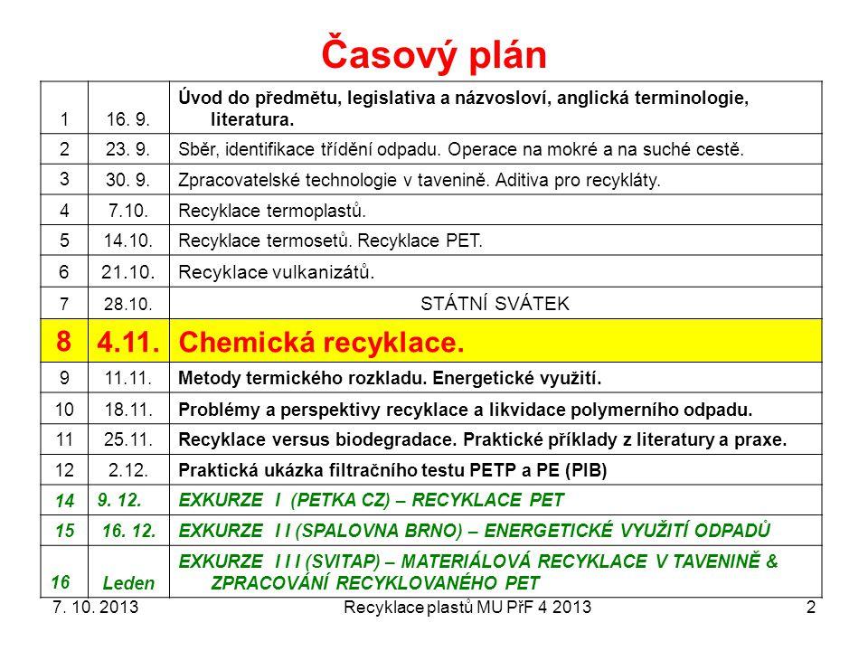 Recyklace plastů MU PřF 4 20132 Časový plán 116.9.