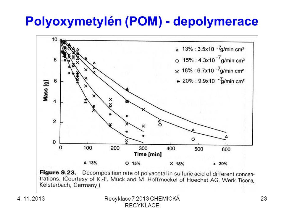 Polyoxymetylén (POM) - depolymerace 4. 11. 2013Recyklace 7 2013 CHEMICKÁ RECYKLACE 23