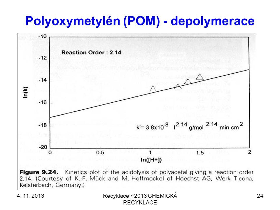 Polyoxymetylén (POM) - depolymerace 4. 11. 2013Recyklace 7 2013 CHEMICKÁ RECYKLACE 24